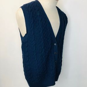 Pendleton Wool Cable Knit Cardigan Sweater Vest M
